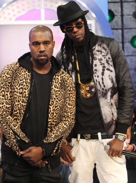 2 Chainz and Kanye West wearing animal print
