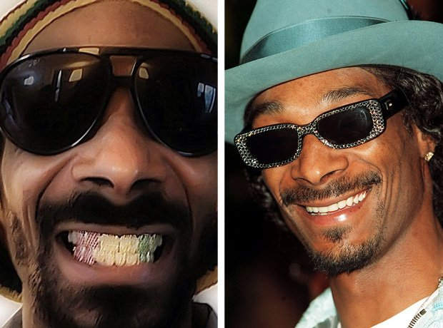 Snoop Dogg with and without teeth grillz