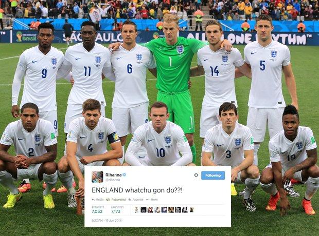 Rihanna commentating on England vs Uruguay