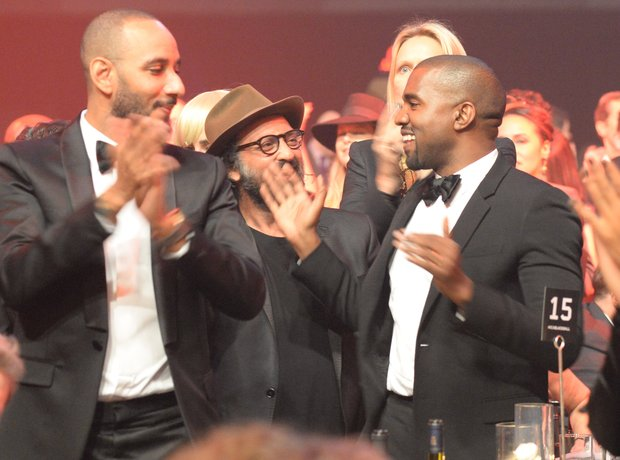 Swizz Beatz, Mr. Brainwash and Kanye West attend K