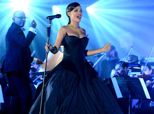 Rihanna performing at charity event