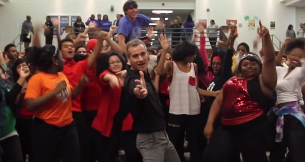 Teacher 'Uptown Funk' dance