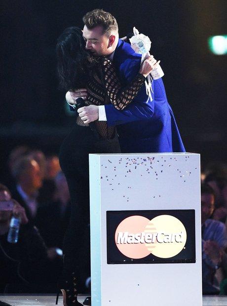 Kim Kardashian and Sam Smith BRIT Awards 2015 On S