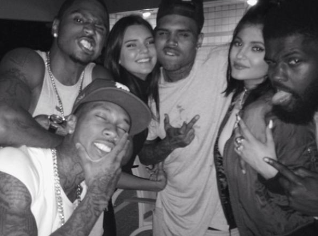 Kylie Jenner with Tyga and friends