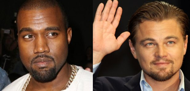 Kanye West next to Leonardo DiCaprio
