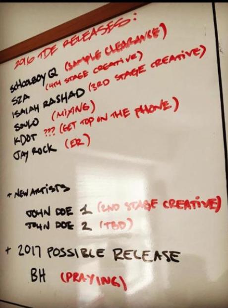 TDE release schedule on whiteboard
