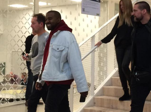 Kanye West walking down stairs in Ikea