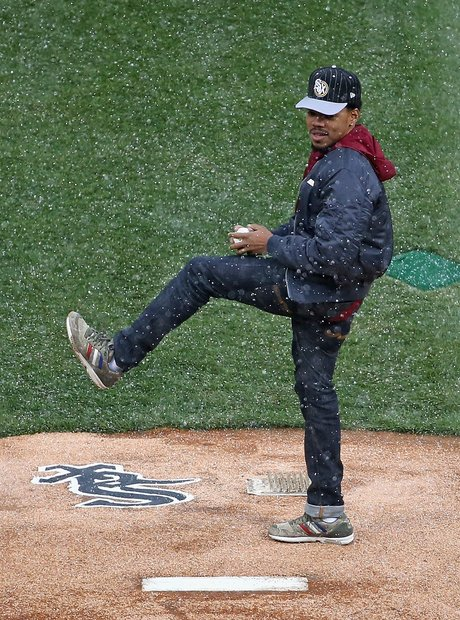 Chance The Rapper pitching at baseball game