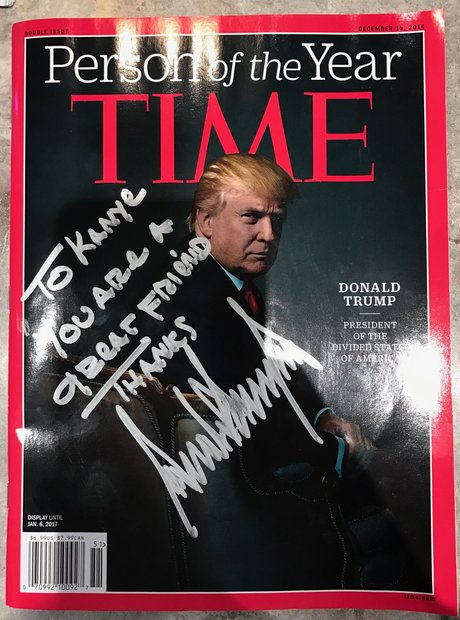Kanye West Trump Signed Time Cover