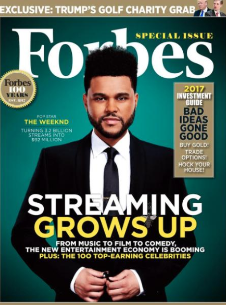 The Weeknd on the cover of Forbes 100 issue